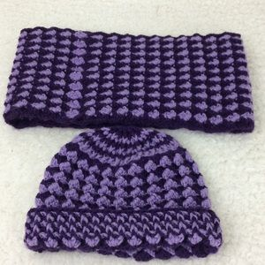 Light and dark purple hand crocheted hat and scarf